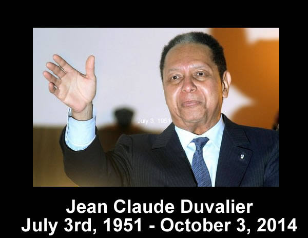 Jean Claude Duvalier dead at the age of 63
