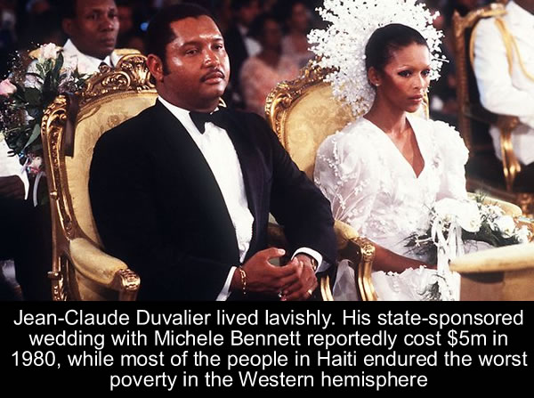 Jean-Claude Duvalier with his bride, Michele Bennett