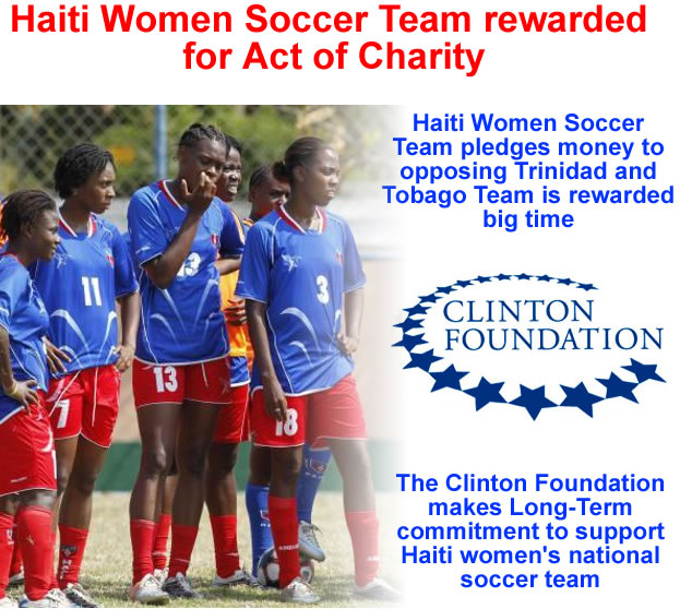 Haiti Women Soccer Team pledges money to opposing Trinidad and Tobago Team