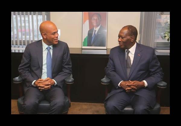 Michel Martelly met Alassane Dramane Ouattara of Ivory Coast