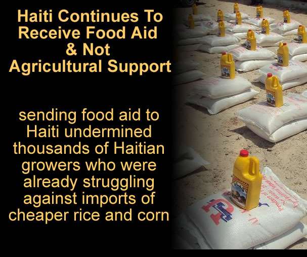 Haiti Receiving Food Aid instead of Agricultural Support