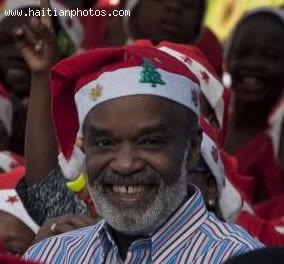 Rene Preval Celebrating Christmas
