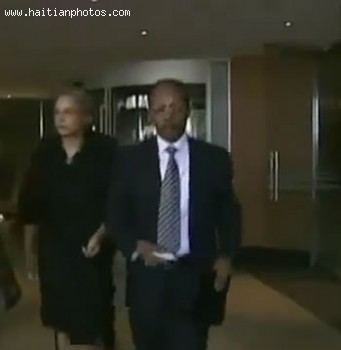 Jean-Bertrand Aristide And Wife Mildred Aristide After Press Conference