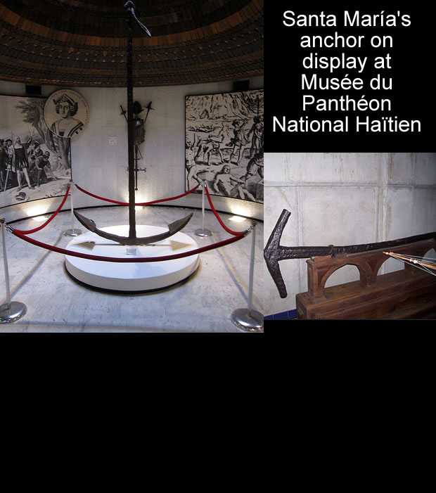 Anchor of Santa Maria at Musee du Pantheon National Haitien