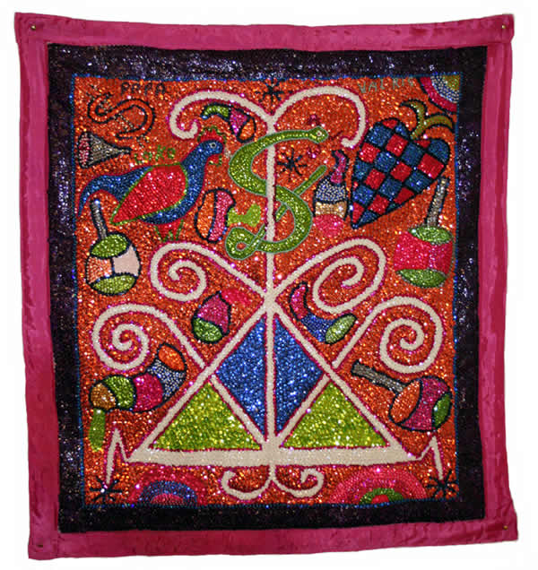 Haitian Vodou Flags, focal point before of Vodou Ceremolny