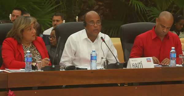 Sophia, Michel Martelly and Laurent Lamothe at ALBA meeting on Ebola