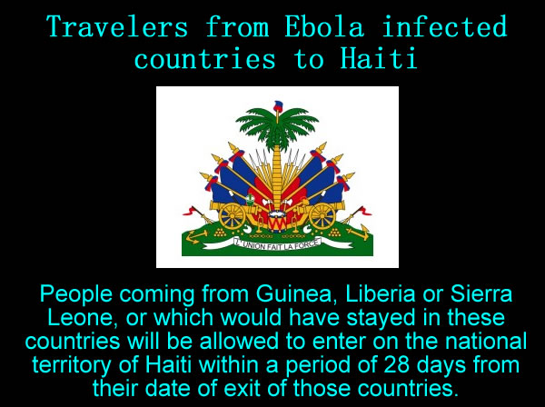 Travelers from Ebola infected countries to Haiti