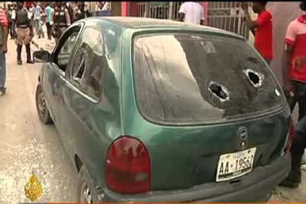 A Car Window broken during Protest in Haiti
