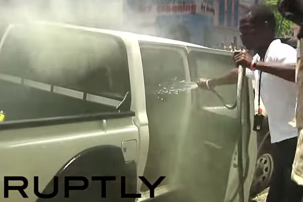 Car set on Fire during Street Protest