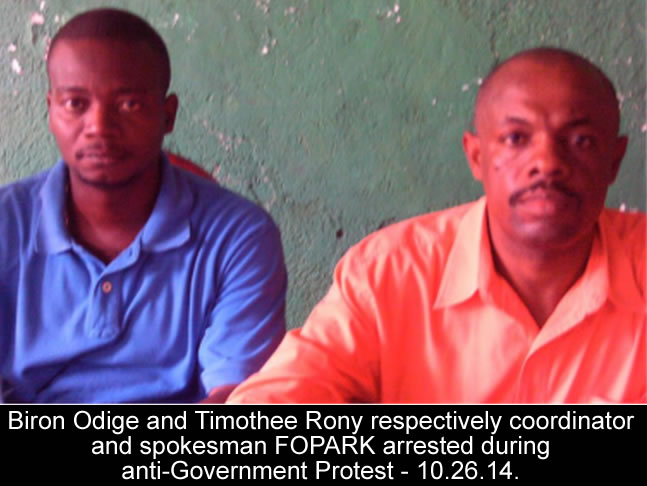 Biron Odige and Rony Timothee of FOPARK arrested during Protest
