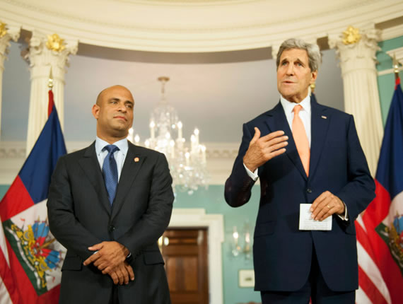Laurent Lamothe and US Secretary of State John Kerry