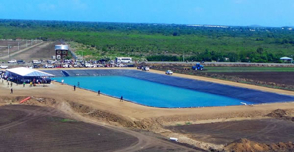 Artificial lake with a capacity of 700,000 gallons on the farm Agritrans