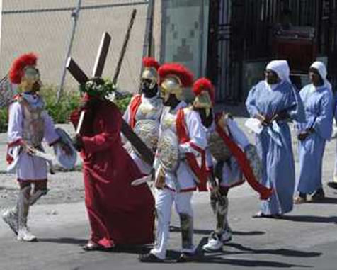 Cross re-enactment on Good Friday at Notre-Dame Catholic Church, Little Haiti
