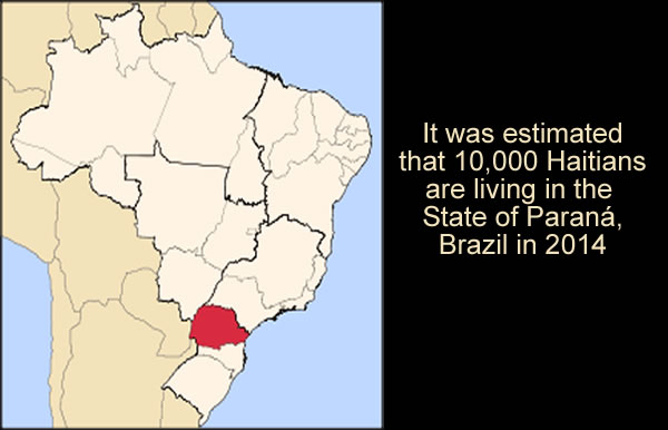 Estimation 10,000 Haitians in the State of Parana, Brazil