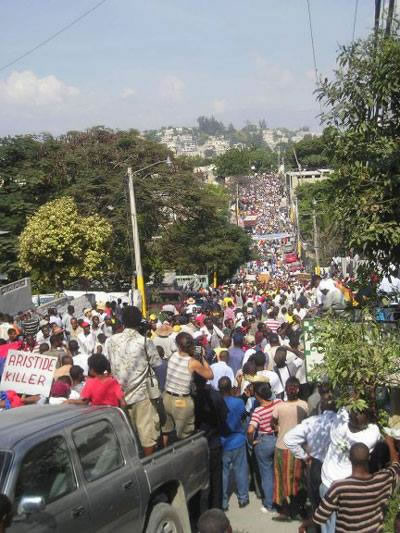 Huge Protest against Jean-Bertrand Aristide, August 2001