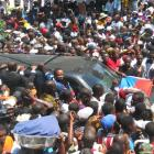Crowd welcoming Jean Bertrand Aristide from Exile in South Africa