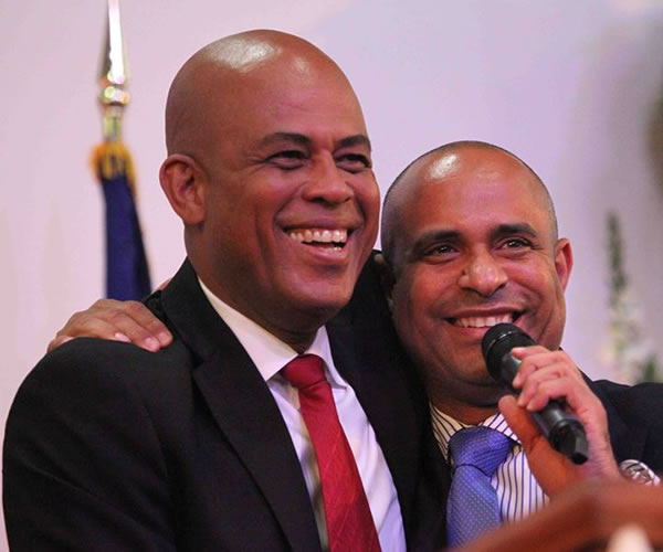 Prime Minister Laurent Lamothe with his friend President Michel Martelly