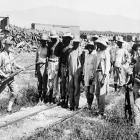 American Marines guard Haitian Cacos captured outside Port-au-Prince