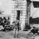 American Marines In 1915 defending the entrance gate in Cap-Haitian