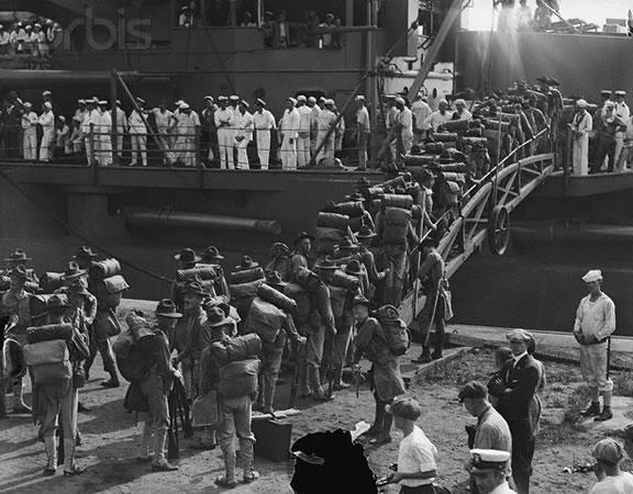 US Marines boarding the U.S.C Connecticut july 1915 to Haiti.