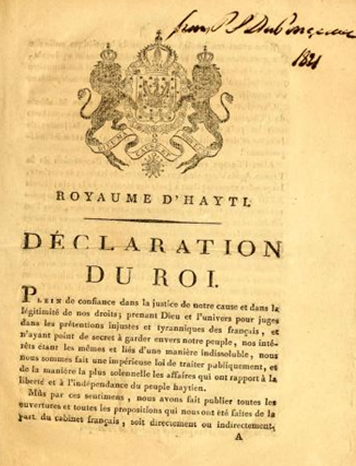 The royal declaration by Henri Christophe in 1821