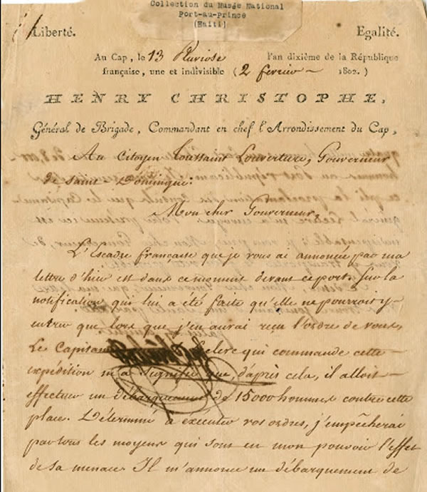 Letter from Henri Christophe to Governor Toussaint Louverture, 1802