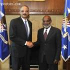 Haitian President Rene Preval With Eric H. Holder U.S. Attorney General