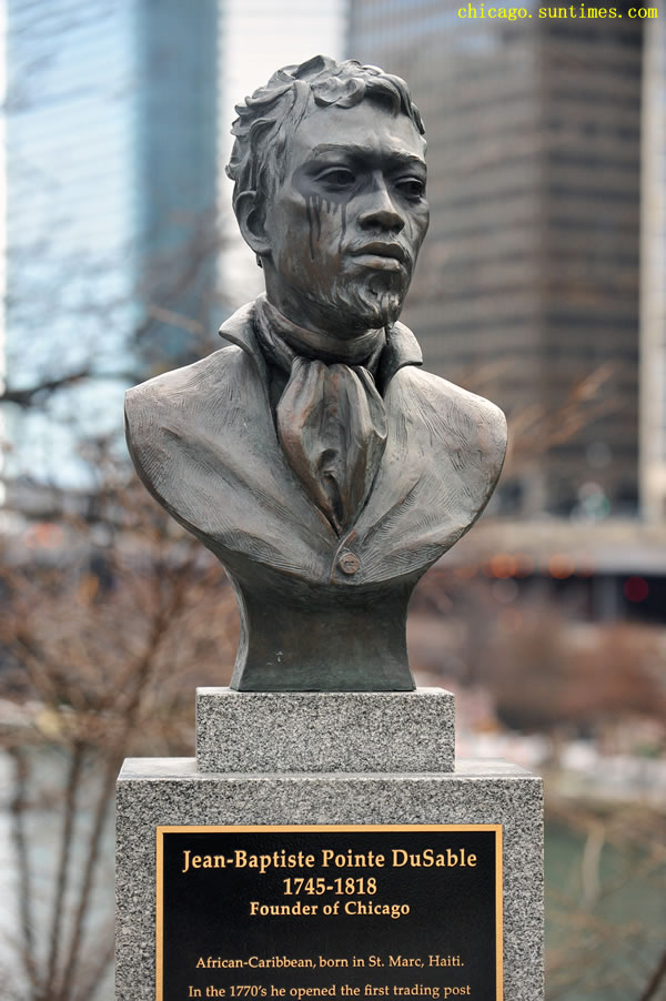 Bronze Statue of Jean-Baptiste Pointe DuSable in Chicago hit by vandalism