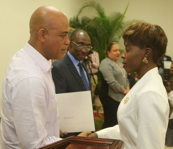 Minister of Culture Dithny Joan RATON and Michel Martelly