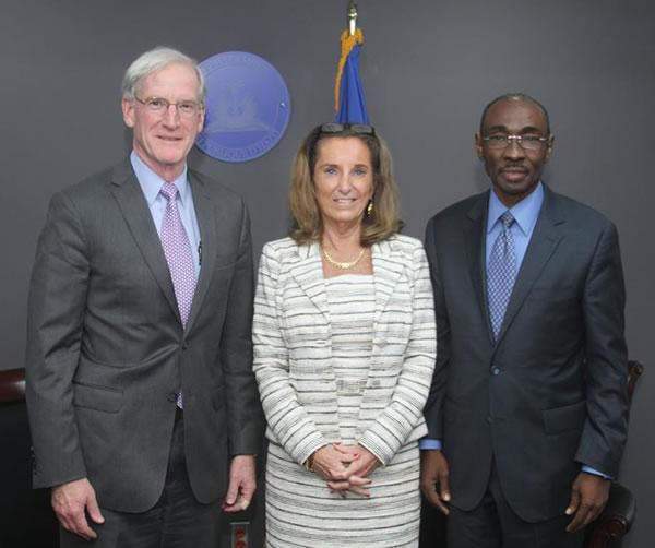 Evans Paul, Haiti Special Coordinator Thomas Adams, Pamela White