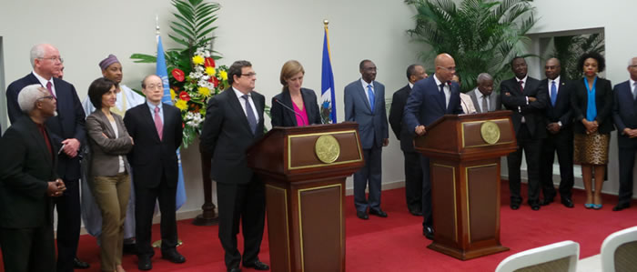 Members of United Nations Security Council meeting Michel martelly In Haiti