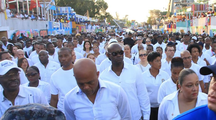 Presisent Michel Martelly at the site of the Kanaval accident