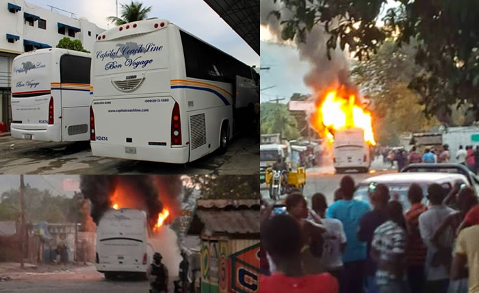 Capital Coach Line bus attacked and burned in Petit-Goave