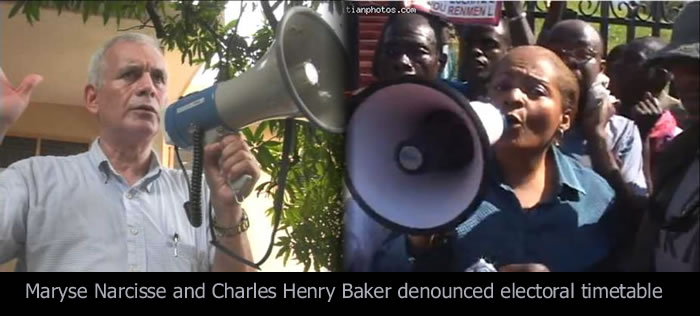 Maryse Narcisse and Charles Henry Baker denounced electoral timetable