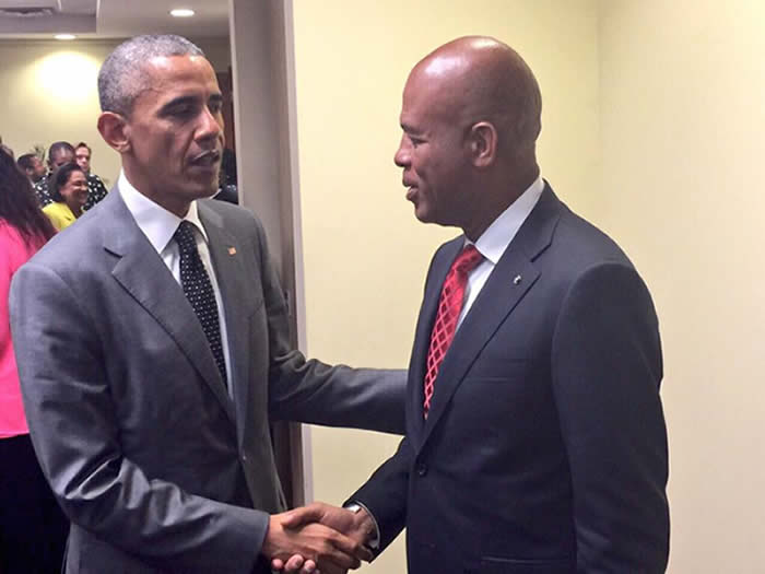 Barack Obama and Michel Martelly at CARICOM in jamaica