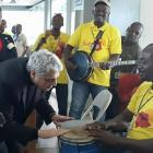 Enrico Macias, Gaston Ghrenassia, in Haiti for a performance