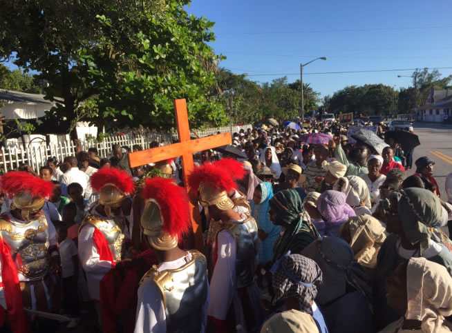 Demonstration of Haitian belief in Little Haiti for Easter