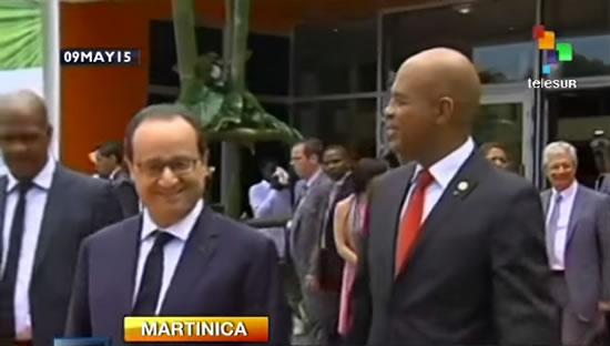 Francois Hollande and Michel Martelly in Haiti