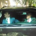 Michel Martelly driving France President Francois Hollande to airport