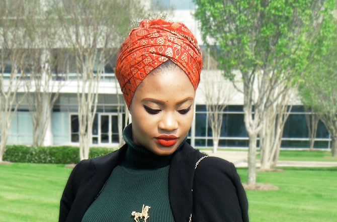 Haitian Designer Paola Mathe with statement-making headwraps