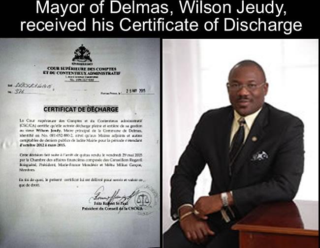 Mayor of Delmas, Wilson Jeudy, received his Certificate of Discharge