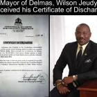 Mayor of Delmas, Wilson Jeudy, received his Certificate of Discharge