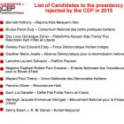 List of Candidates to the presidency rejected by the CEP in 2015