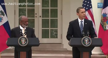 Rene Preval And Barrack Obama At The White House