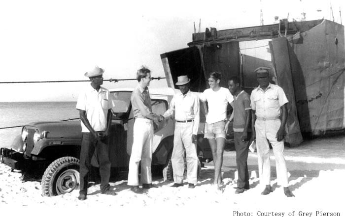 Grey Pierson visiting Tortuga Island in 1972