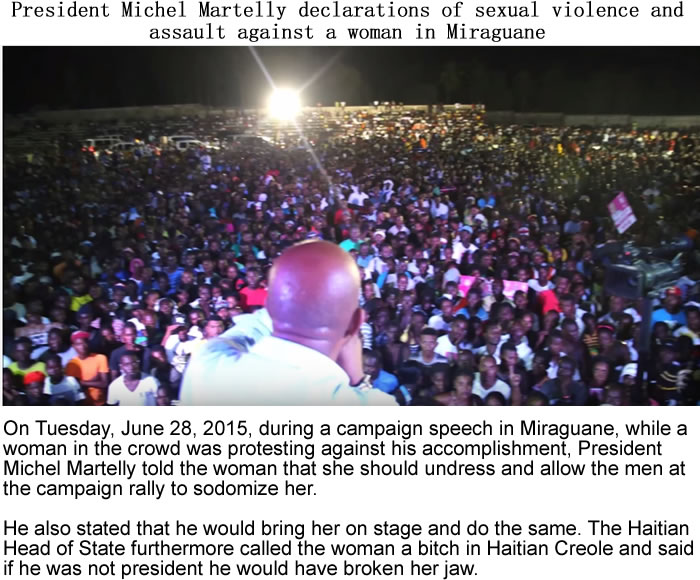 Martelly declaration of sexual violence in Miraguane