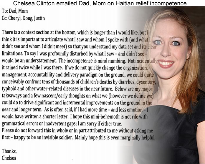Chelsea Clinton email Dad, Mom on Haitian relief incompetence