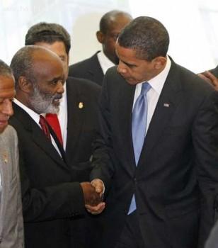 Haitian President Rene Preval And Barack Obama
