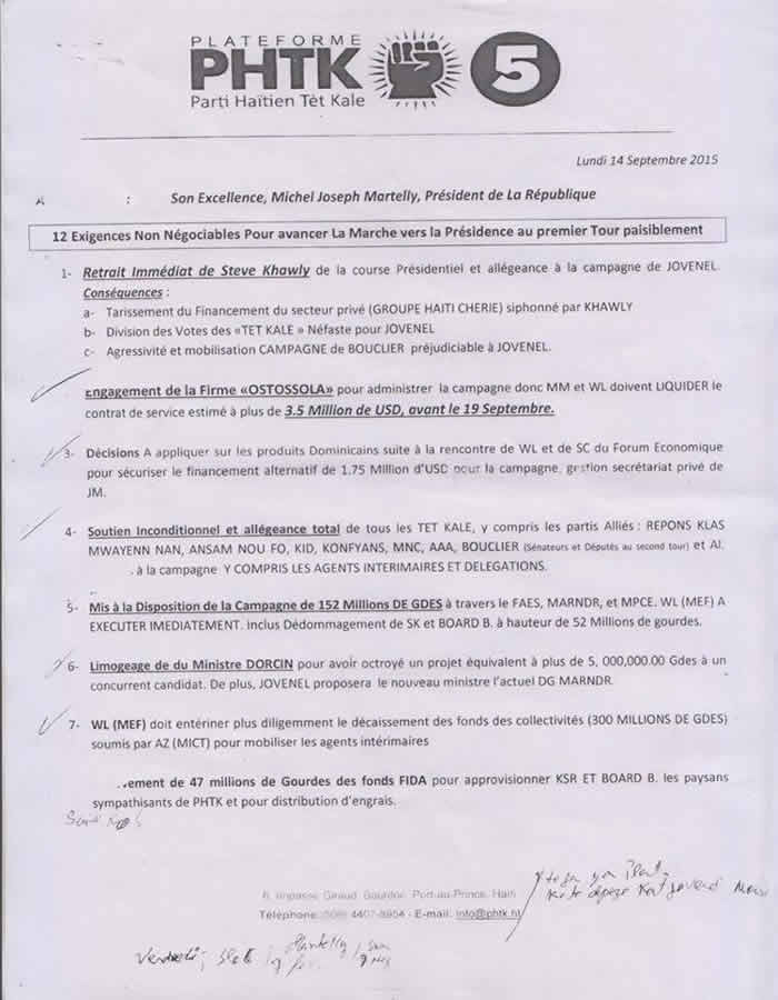 One of Two Page plan to make Jovenel Moise President