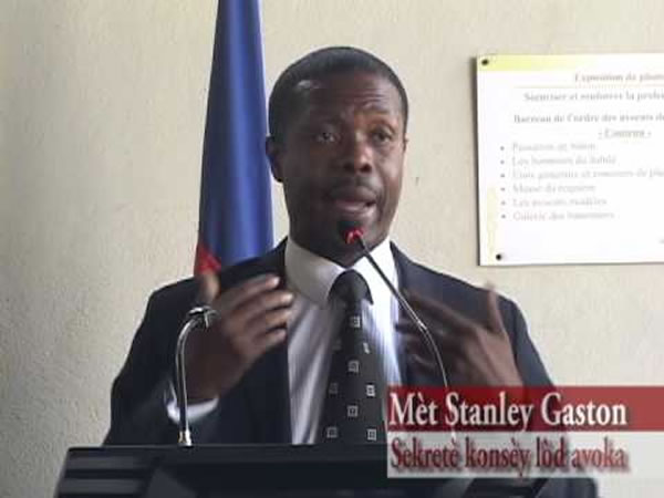 Stanley Gaston, New President at the Bar, Port-au-Prince